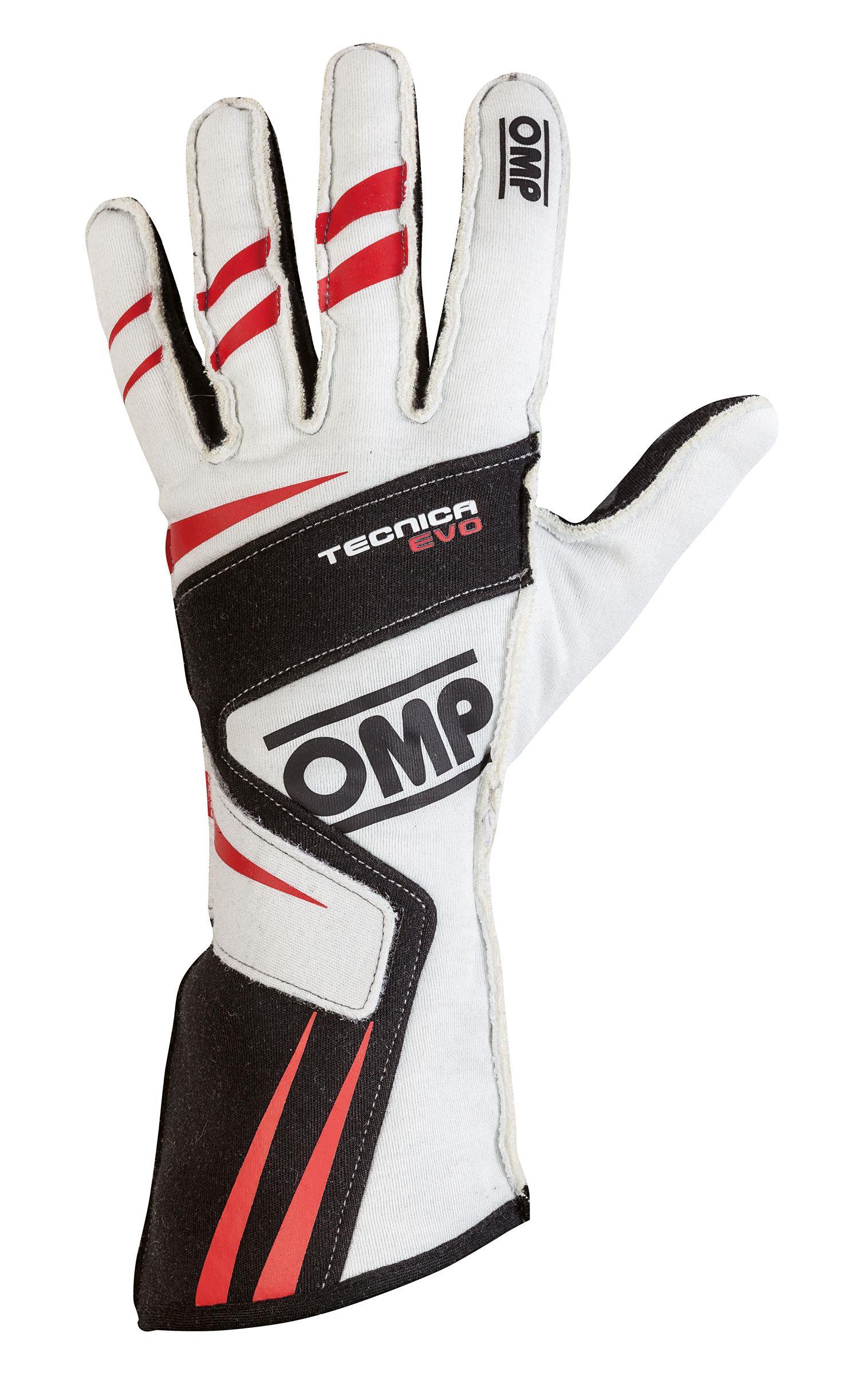 OMP Fahrerhandschuh Tecnica Evo, weiß/schwarz