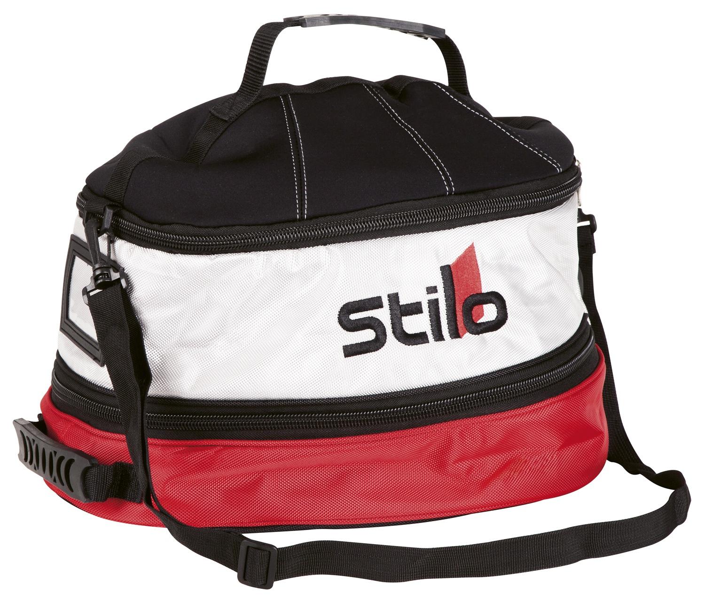 Stilo Helmtasche, schwarz/weiß/rot