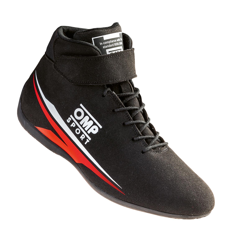 OMP Fahrerschuh Sport, schwarz/rot