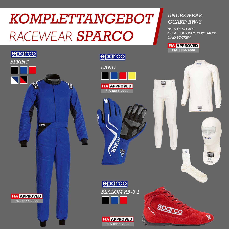 Komplettangebot Racewear   Sparco 2020